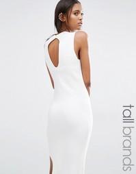 Вязаное платье миди с вырезом капелькой сзади Noisy May Tall - Белый