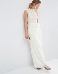 Платье макси с жемчужной отделкой на лифе ASOS - Кремовый
