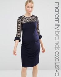 Облегающее платье с кружевными вставками Bluebelle Maternity