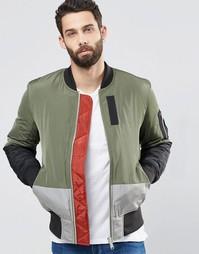 Куртка-пилот цвета хаки со вставками и карманом ASOS MA1 - Хаки