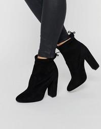Черные ботильоны на каблуке Public Desire Jenna - Черный замшевый