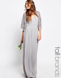 Плиссированное платье макси с кружевными рукавами и запахом Maya Tall