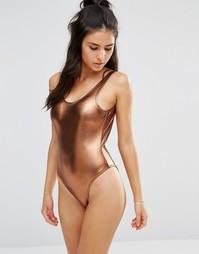 Слитный купальник цвета металлик с глубоким вырезом сзади Playful Prom
