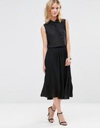 Платье-рубашка миди с плиссированной юбкой Style London - Черный