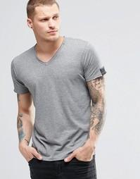 Серая меланжевая футболка с V-образным вырезом и необработанными краям Replay