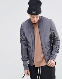 Куртка-пилот с отцепляемыми ремешками Sixth June - Серый