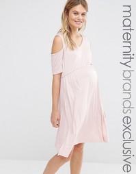 Приталенное платье для беременных с вырезами на плечах Bluebelle Mater
