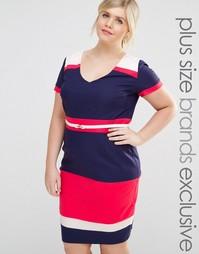 Полосатое платье-футляр в стиле колор блок с глубоким декольте Paper D