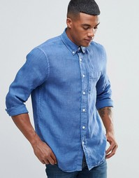 Темно-синяя льняная рубашка Abercrombie & Fitch - Темно-синий
