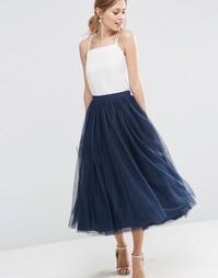 Многослойная юбка для выпускного из тюля ASOS WEDDING - Темно-синий