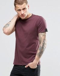 Бордовая футболка с необработанными краями Replay - Burgundy