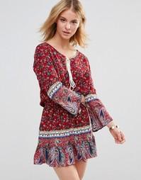 Платье с ярусной кромкой Style London - Красный