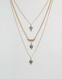 Многоярусное ожерелье с бирюзовыми камнями Glamorous - Золотой