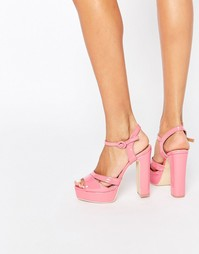 Розовые босоножки на платформе и каблуке Public Desire Penny