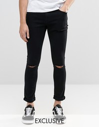 Черные суперзауженные джинсы с разрезами на коленях Brooklyn Supply Co