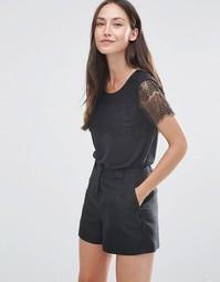 Черная футболка с короткими рукавами Selected Bella - Черный