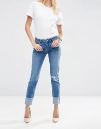 Выбеленные джинсы бойфренда с широкими отворотами ASOS Kimmi