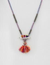 Ожерелье с кисточкой и помпонами Glamorous - Серебряный