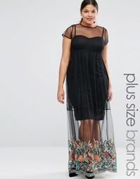Сетчатое платье макси с вышивкой по низу Boohoo Plus - Черный