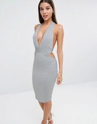 Платье-футляр с декольте и перекрутом на спине NaaNaa - Сине-серый