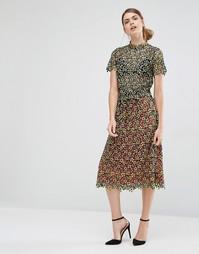 Гипюровая юбка миди с цветочным узором Self Portrait