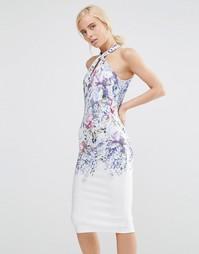 Платье-футляр миди с высокой горловиной и принтом Hope and Ivy - Белый