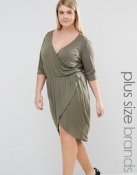 Платье с глубоким вырезом и запахом спереди Pink Clove - Зеленый