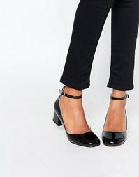 Черные туфли на среднем каблуке с ремешком на щиколотке Miss KG