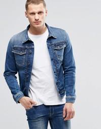 Стретчевая джинсовая куртка слим Pepe Rooster S62