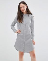 Платье-рубашка в полоску с длинными рукавами Selected - В полоску