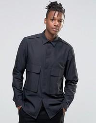 Рубашка классического кроя в стиле милитари с двумя карманами на молни Asos