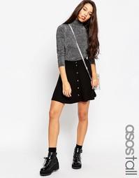 Короткая расклешенная юбка на кнопках ASOS TALL - Черный