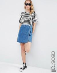 Синяя выбеленная джинсовая юбка‑трапеция с запахом ASOS TALL