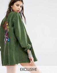 Oversize-рубашка в стиле милитари с вышивкой сзади Milk It Vintage