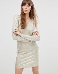 Платье металлик с длинными рукавами Vero Moda Voss - Золотой