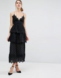Платье миди с кружевной отделкой Self Portrait Ivy - Черный