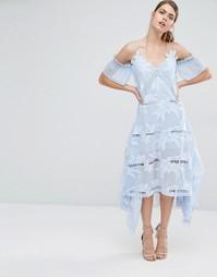 Платье миди с цветочной вышивкой Self Portrait - Небесно-голубой