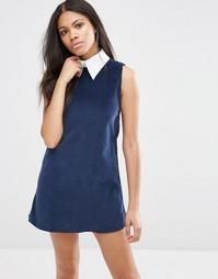 Трапециевидное вельветовое платье Motel Megara - Темно-синий