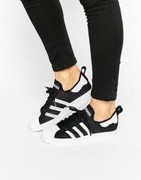 Трикотажные кроссовки в стиле 80-х adidas Orginals Superstar - Черный