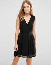 Короткое приталенное платье с запахом Pussycat London - Черный