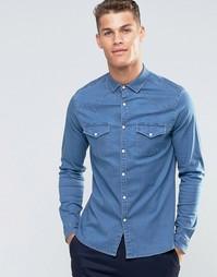 Джинсовая рубашка в стиле вестерн с длинными рукавами ASOS - Синий
