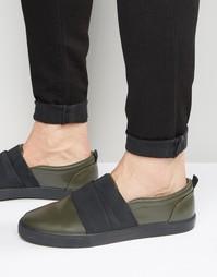 Кроссовки-слипоны цвета хаки с эластичными ремешками ASOS - Хаки