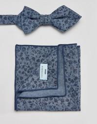 Галстук-бабочка и платок для пиджака с цветочным принтом Minimum