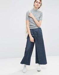Фактурные брюки из денима с широкими штанинами ASOS - Темно-синий