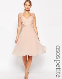 Платье миди с кружевной отделкой ASOS PETITE Kate - Телесный