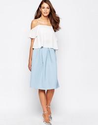 Расклешенная юбка мини из вафельного материала Closet - Бледно-синий