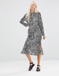Платье-рубашка с принтом Minimum Thecla - Черный