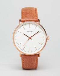 Золотистые часы с кожаным ремешком ASOS - Коричневый