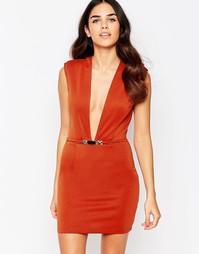 Облегающее платье с глубоким вырезом Rare - Красно-бурый