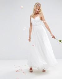 Сетчатое платье макси на бретельках с вышивкой ASOS BRIDAL - Белый